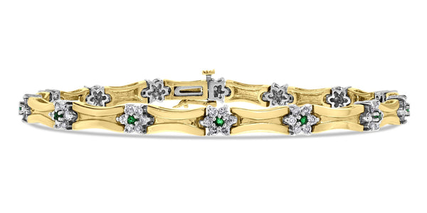 Petite Flowers Bracelet (2.90 ct Diamonds & Emeralds) in Yellow Gold