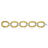 Textured Gold & Diamond Link Broad Bracelet (1.56 ct Diamonds) in Gold