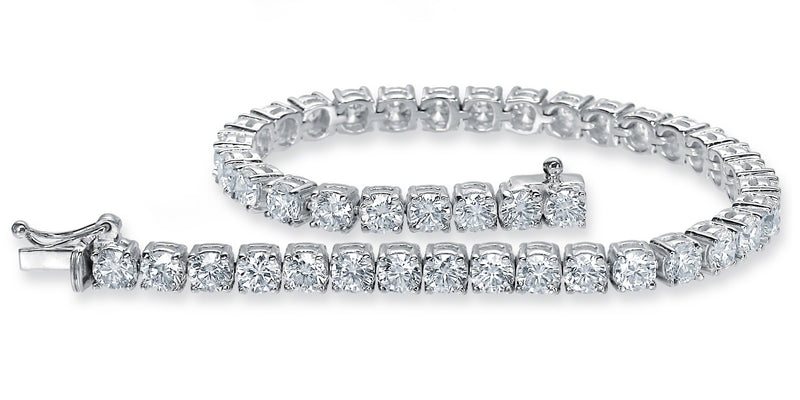 Diamond Tennis Bracelet (9.60 ct Diamonds) in White Gold