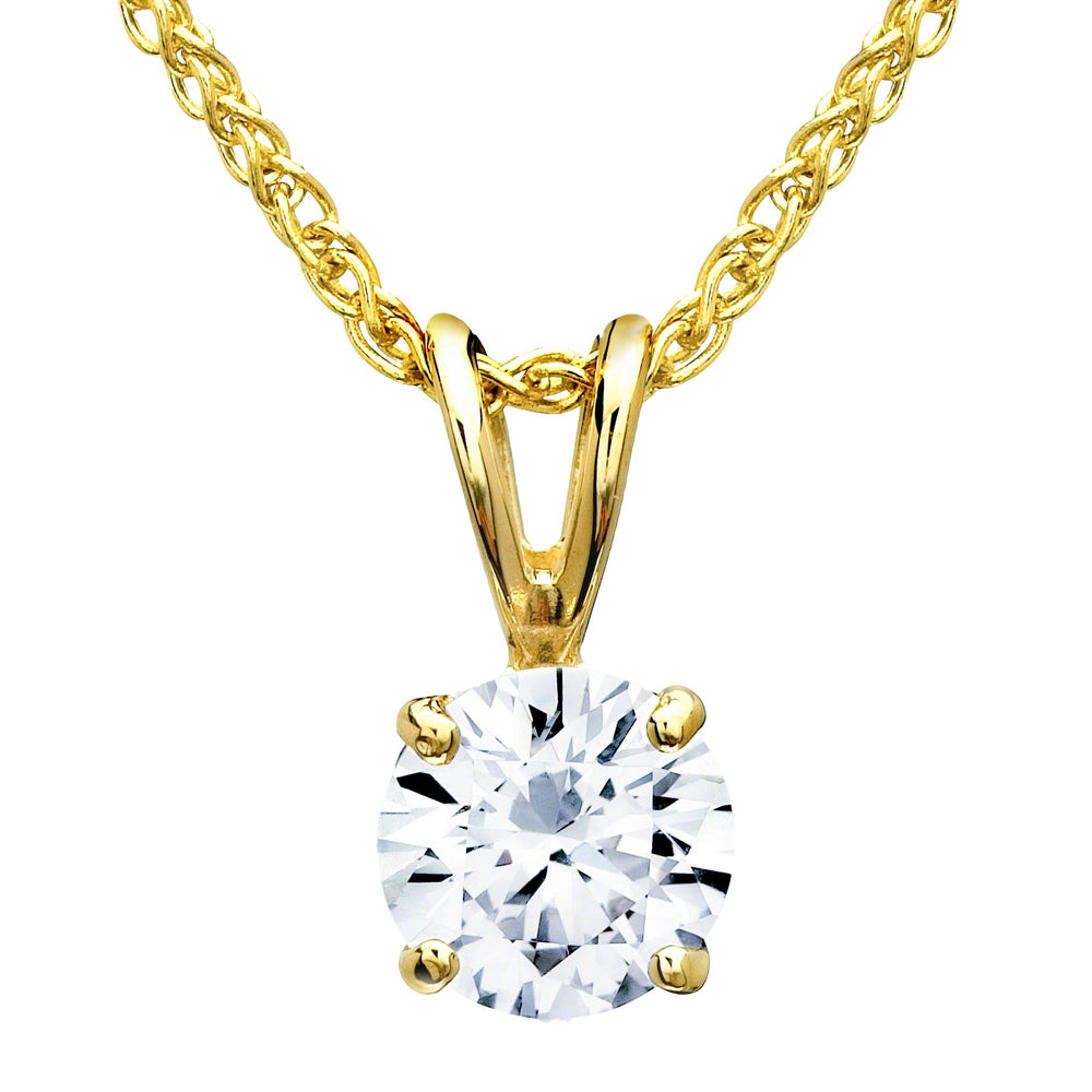 Round Solitaire Diamond Pendant (0.52 ct Diamond) in Yellow Gold