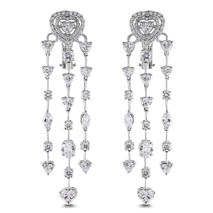 Longing Hearts Earrings (7.19 ct Diamonds) in White Gold