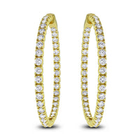 Round Diamond Hoops (6.19 ct Diamonds) in Yellow Gold
