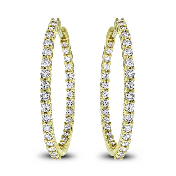 Round Diamond Hoops (3.27 ct Diamonds) in Yellow Gold