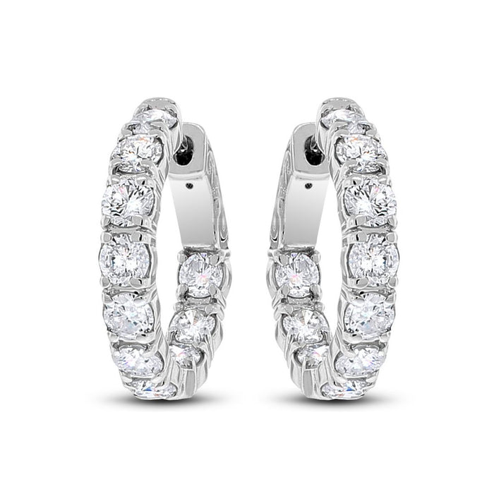 Round Diamond Hoops (3.28 ct Diamonds) in White Gold