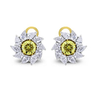 Radiance Diamond Stud Earrings (7.58 ct Diamonds) in Platinum & Gold
