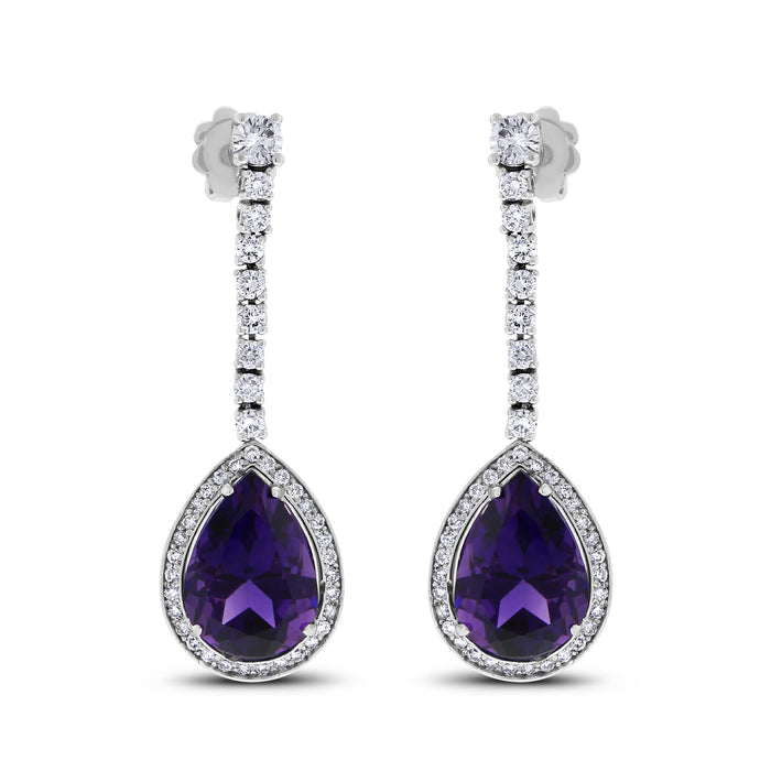 Claire Amethyst & Diamond Earrings (12.86 ct Amethysts & Diamonds) in White Gold