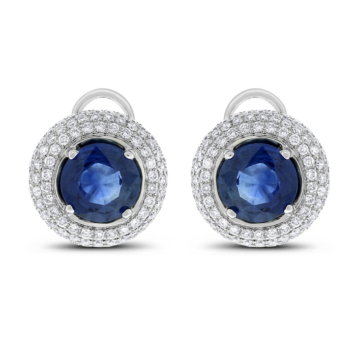Sapphire Diamond Halo Studs (4.17 ct Sapphires & Diamonds) in White Gold