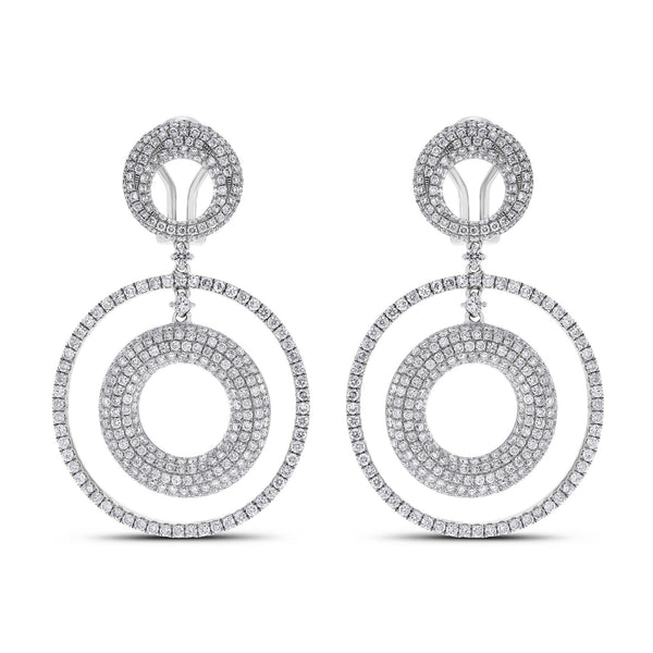 Circles Diamond Earrings (5.30 ct Diamonds) in White Gold