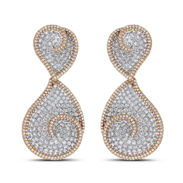Whirls of Love Diamond Earrings (11.30 ct Diamonds) in Gold