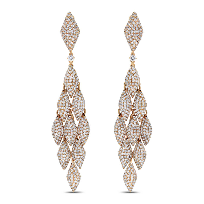 Autumn Chandelier Diamond Earrings (11.14 ct Diamonds) in Rose Gold