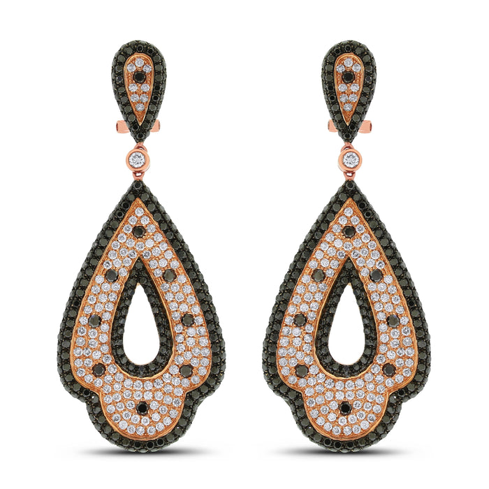 Enya Black & White Diamond Earrings (7.95 ct Diamonds) in Rose Gold