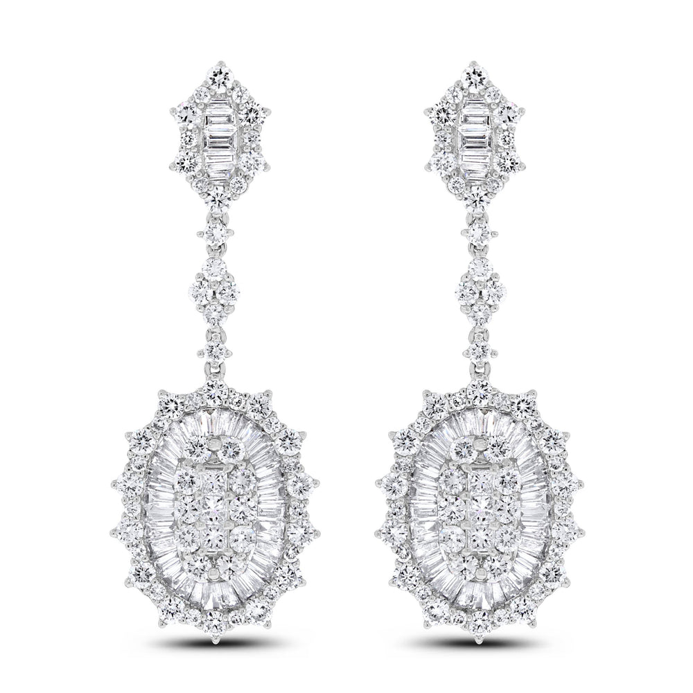 Charm Diamond Earrings (6.05 ct Diamonds) in White Gold