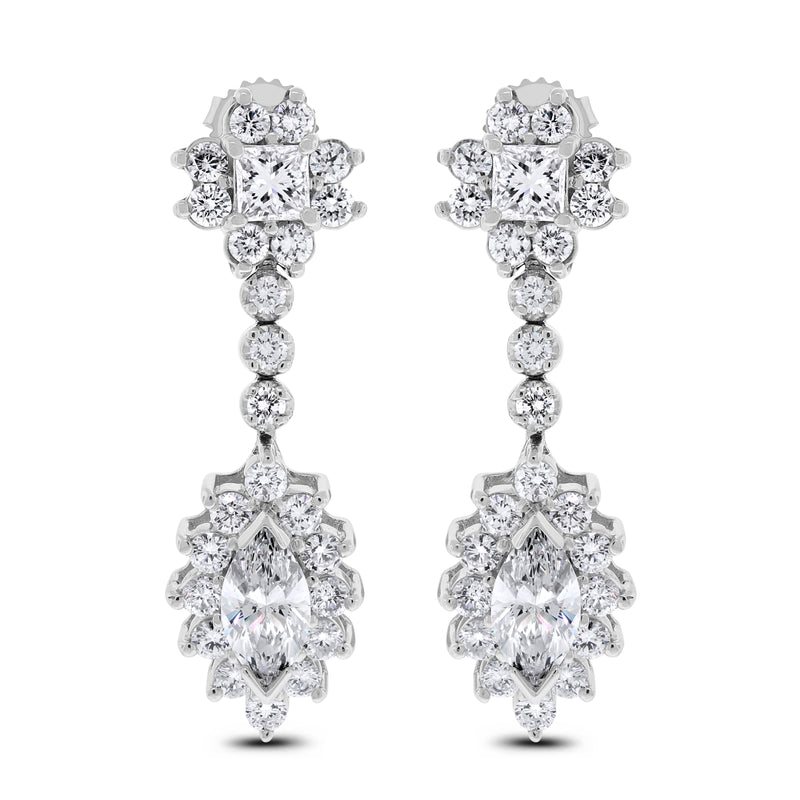 Princess Diamond Earrings (5.98 ct Diamonds) in White Gold