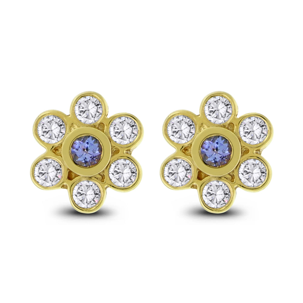 Tanzanite Ear Flowers (1.20 ct Diamonds & Tanzanites) in Yellow Gold