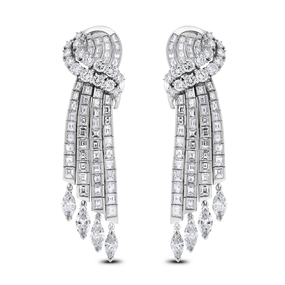 Waterfalls Diamond Earrings (14.75 ct Diamonds) in White Gold