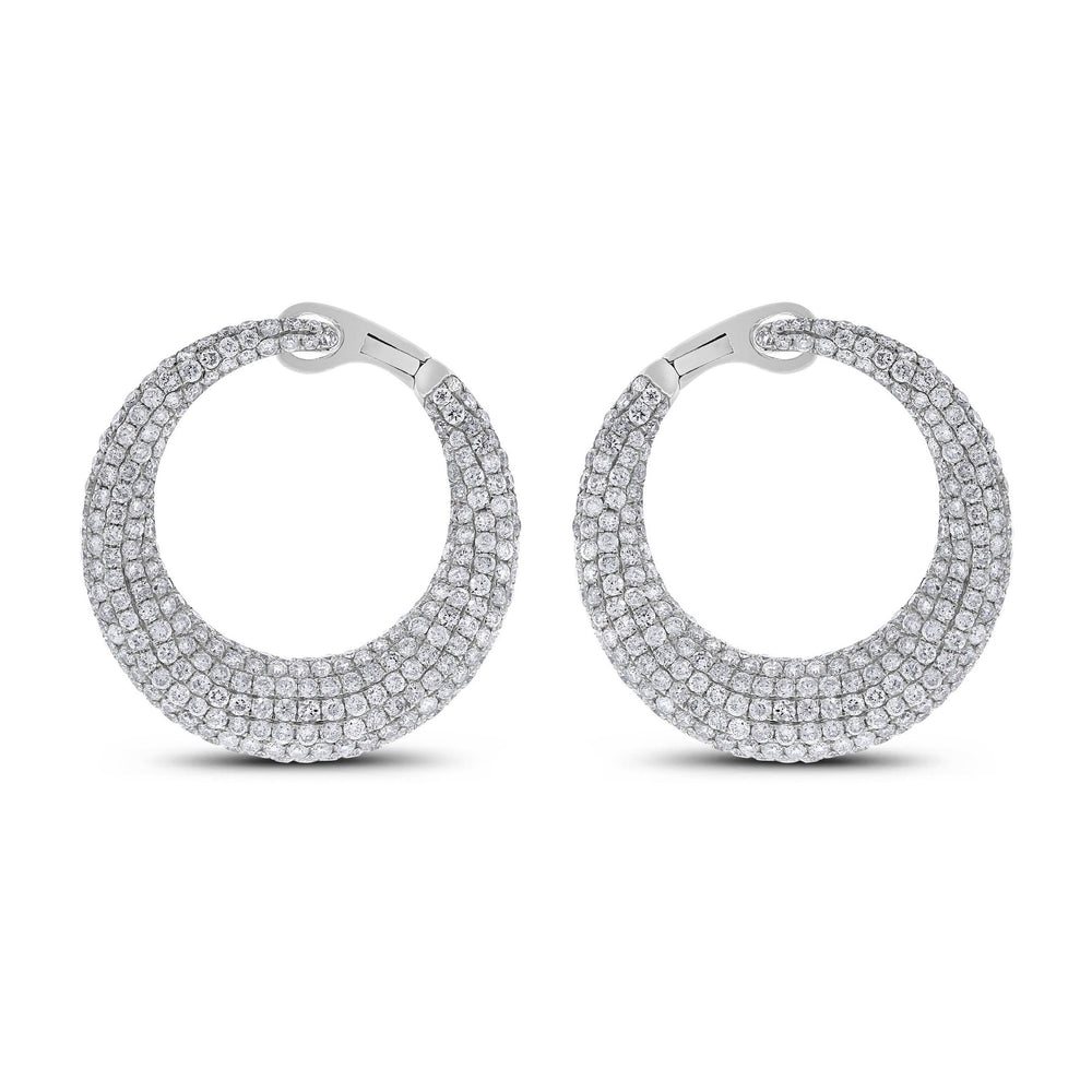 Crescent Moon Diamond Earrings (6.24 ct Diamonds) in White Gold