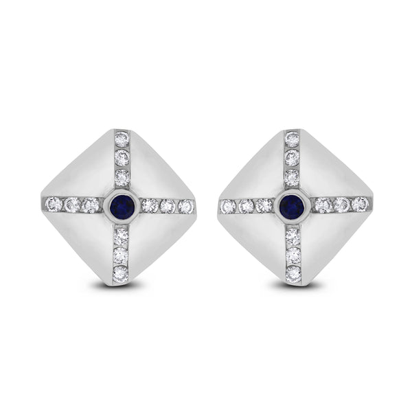 Shield Diamond & Sapphire Studs (1.50 ct Diamonds & Sapphires) in White Gold