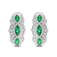 Grape Vine Huggies Earrings (2.46 ct Diamonds & Emeralds) in White Gold