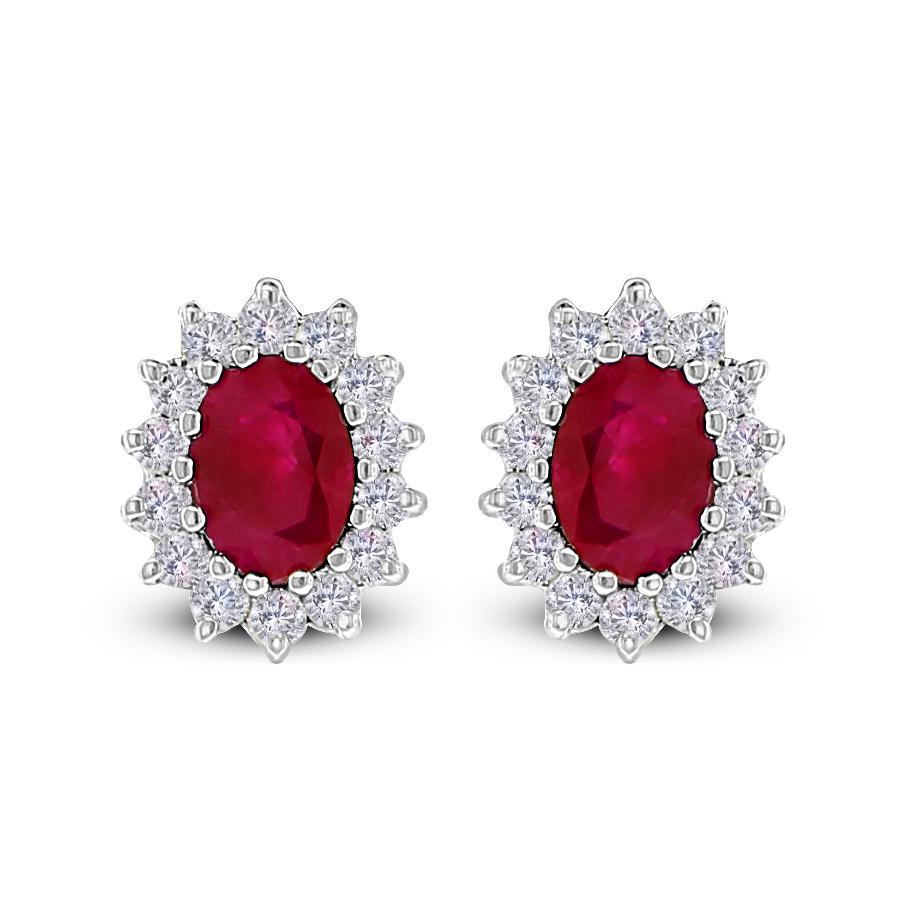 Ruby & Diamond Halo Studs (2.86 ct Rubies & Diamonds) in White Gold