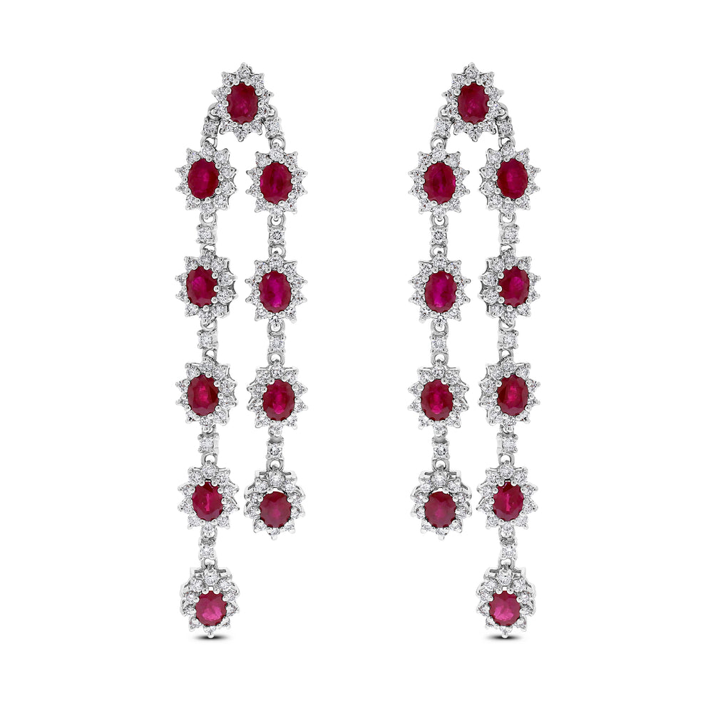Rosemary Ruby Earrings (14.23 ct Rubies & Diamonds) in White Gold