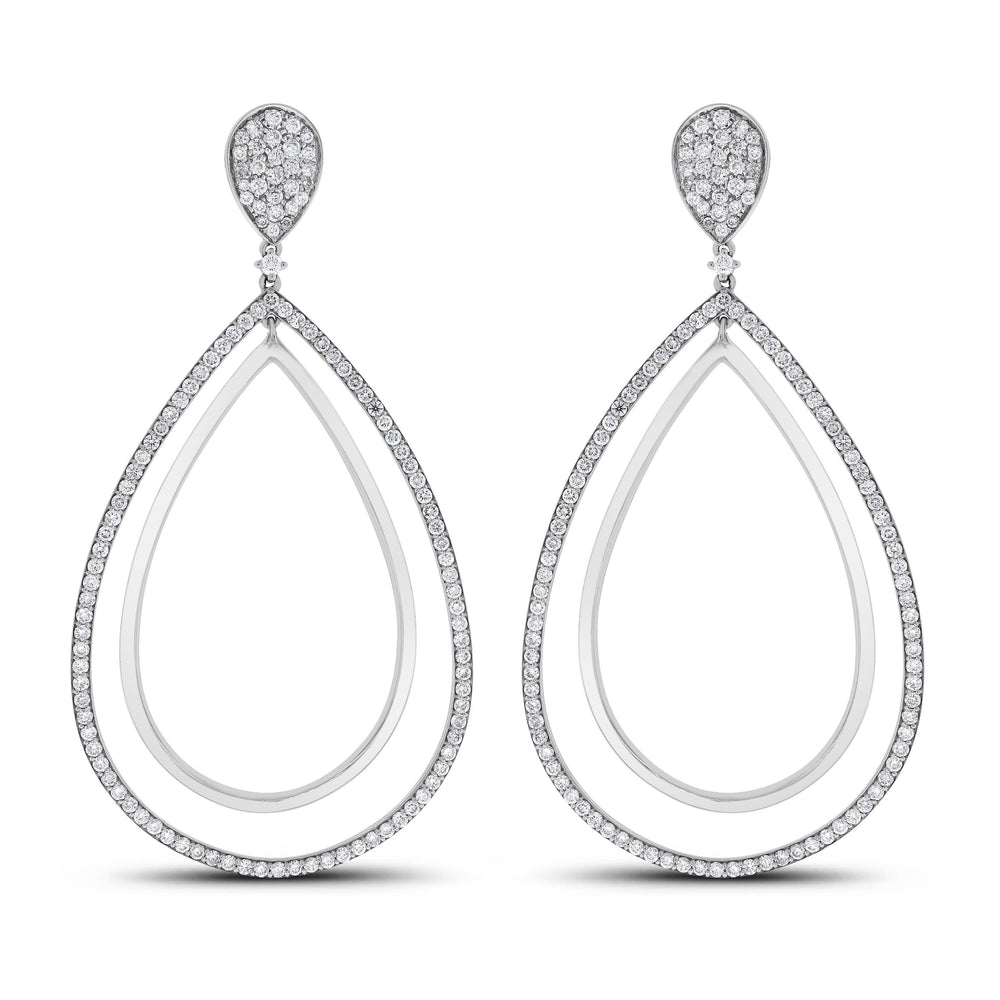 Audrey Diamond Earrings (4.25 ct Diamonds) in White Gold