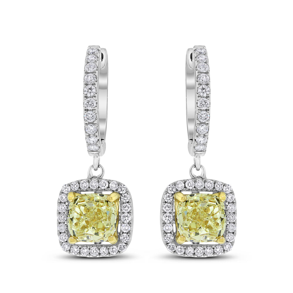Yellow Cushion Diamond Earrings (3.67 ct Diamonds) in Gold