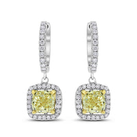Yellow Cushion Diamond Earrings (3.67 ct)