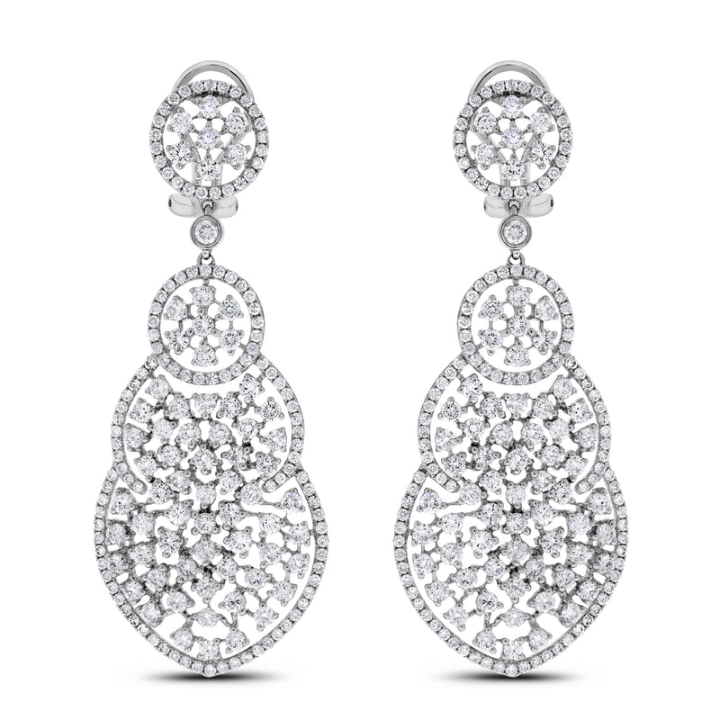 Diane Diamond Earrings (9.00 ct Diamonds) in White Gold