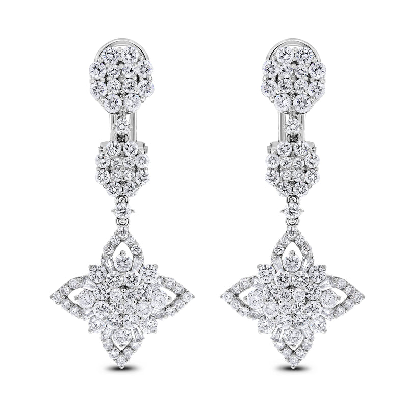 Regina Diamond Earrings (3.48 ct Diamonds) in White Gold