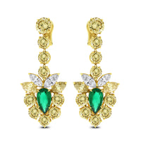 Golds & Greens Diamond & Emerald Earrings (23.86 ct Diamonds & Emeralds) in Yellow Gold