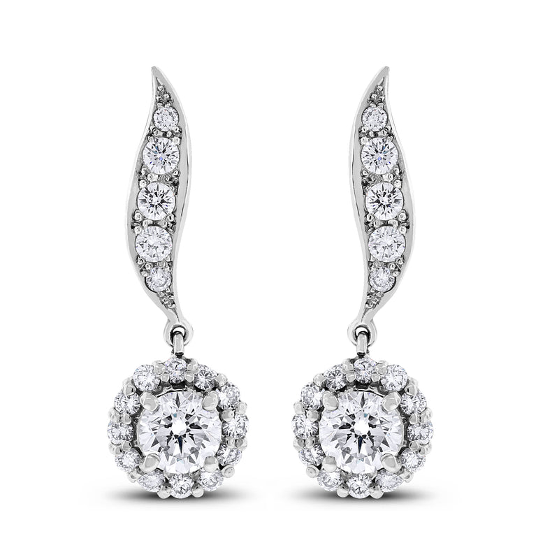 Leela Leaf Drop Earrings (3.50 ct Diamonds) in White Gold