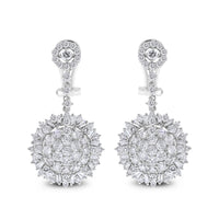 Sun Burst Earrings (3.92 ct Diamonds) in White Gold