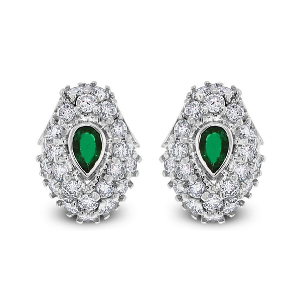 Emerald Leaf Earrings (3.00 ct Diamonds & Emeralds) in White Gold