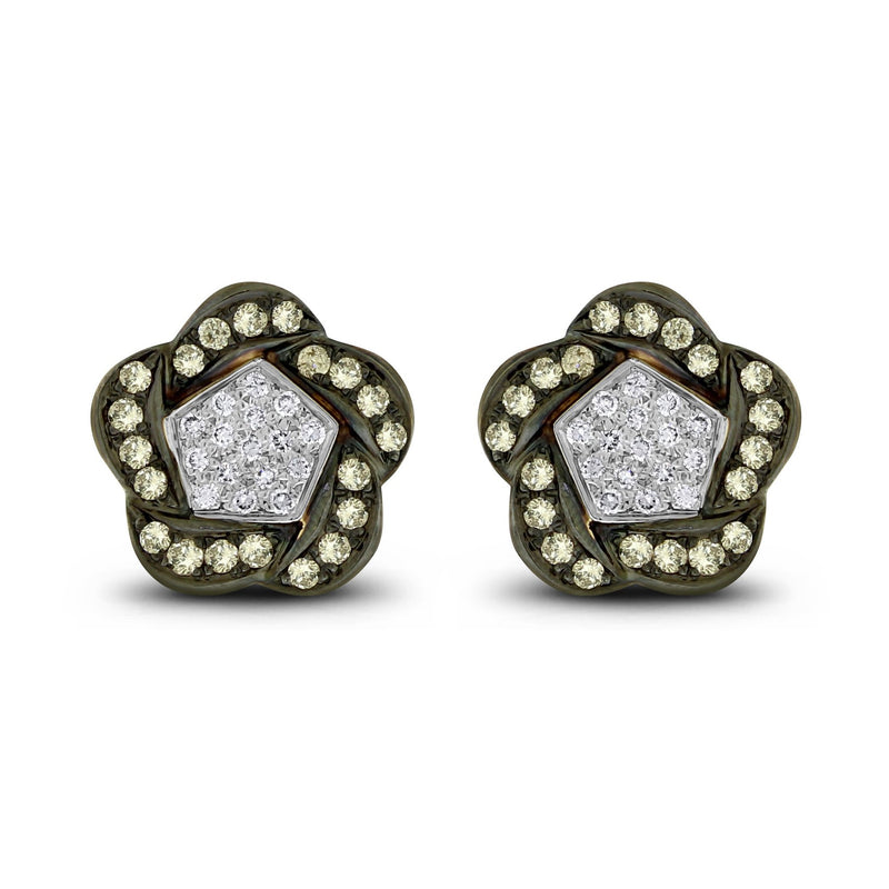 Floral Diamond Ear Buttons (1.52 ct Diamonds) in White Gold
