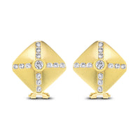 Shield Diamond Ear Studs (1.56 ct Diamonds) in Yellow Gold