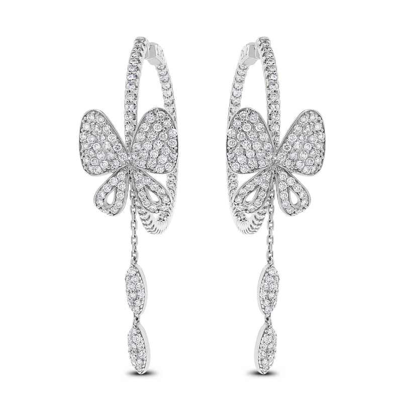The Butterfly Hoops (2.75 ct Diamonds) in White Gold