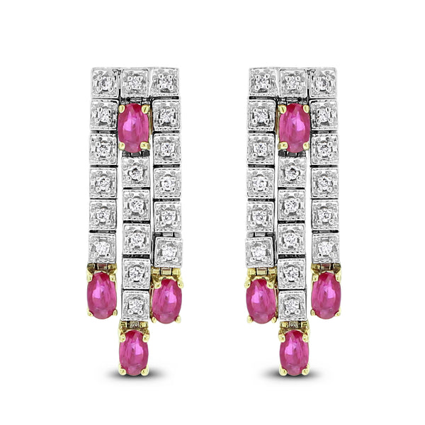 Raina Diamond & Ruby Earrings (3.10 ct Rubies & Diamonds) in White Gold