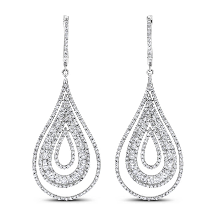 Ripples Diamond Earrings (4.29 ct Diamonds) in White Gold