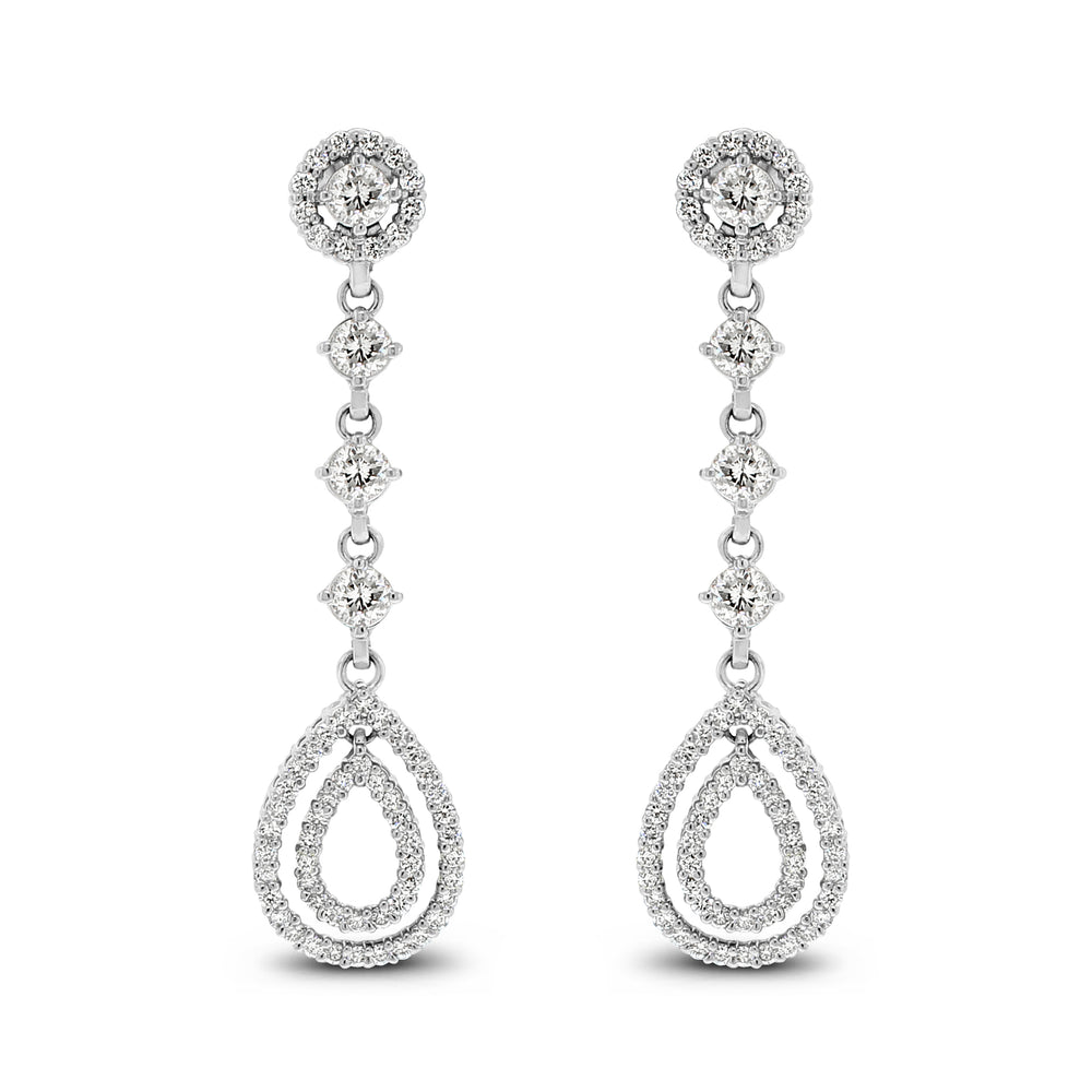 Dangling Halo Diamond Earrings (2.02 ct Diamonds) in White Gold