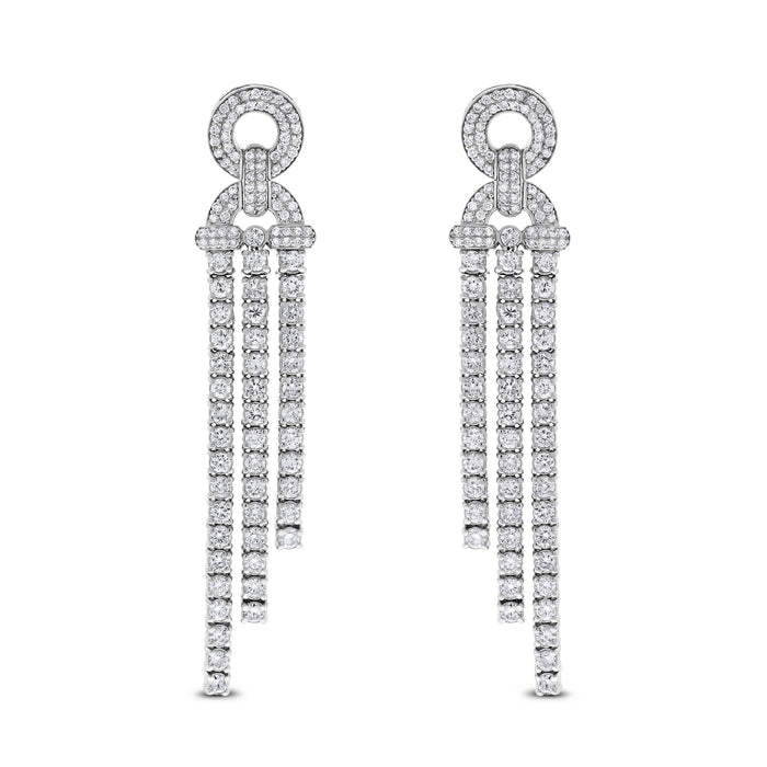 Destiny Diamond Earrings (4.31 ct Diamonds) in White Gold