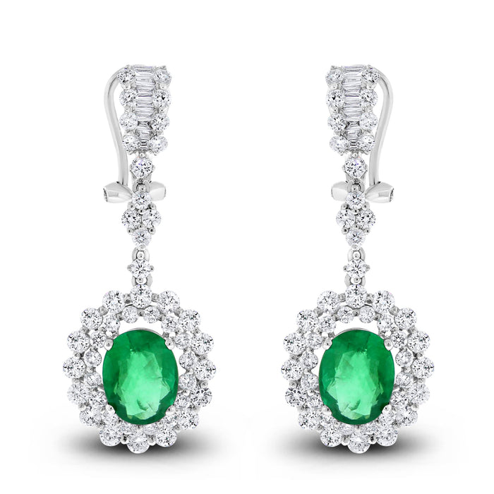 Gina Diamond & Emerald Earrings (6.45 ct Emeralds & Diamonds) in White Gold