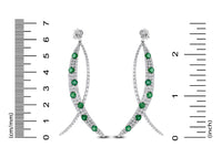 Olive Emerald & Diamond Earrings (8.33 ct Diamonds & Emeralds) in White Gold