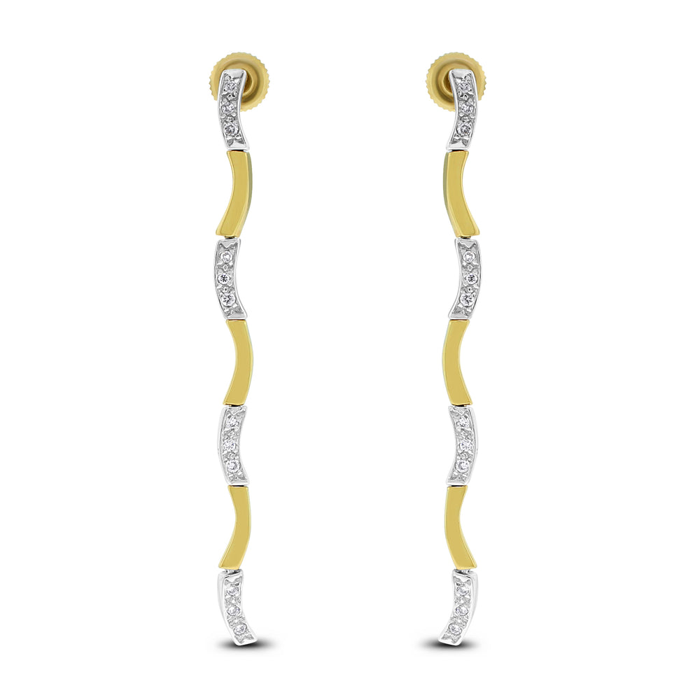 Sway Diamond Earrings (0.25 ct Diamond) in Yellow and White Gold