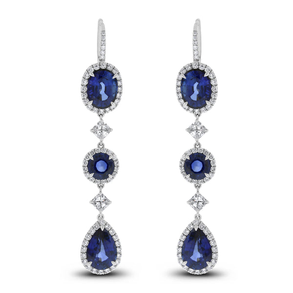 Ice Princess Diamond & Sapphire Earrings (20.24 ct Sapphires & Diamonds) in White Gold