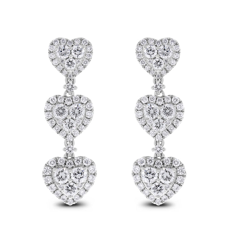Lilly of Hearts Earrings (2.80 ct Diamonds) in White Gold