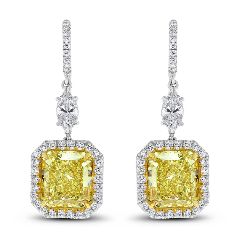 Exuberance Earrings (8.47 ct Radiant Fancy Yellow Internally Flawless GIA Diamonds) in Platinum