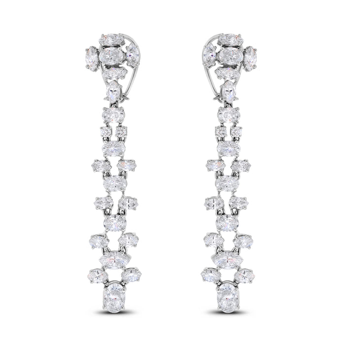 Ladders Diamond Earrings (14.82 ct Diamonds) in White Gold