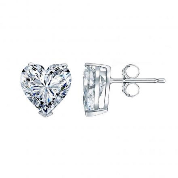 Heart Shape Solitaire Diamond Studs (2.28 ct HS E-G SI GIA Diamonds) in White Gold