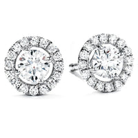 Halo Round Diamond Solitaire Studs (3.57 ct Diamonds) in White Gold