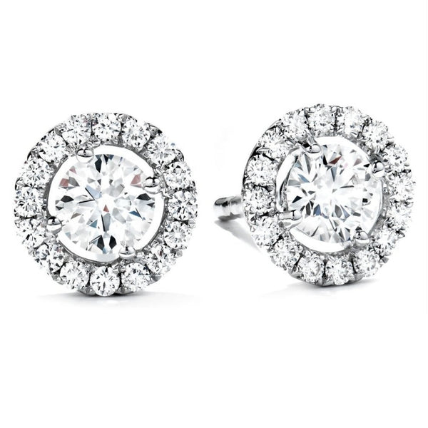 Halo Round Diamond Solitaire Studs (3.57 ct)